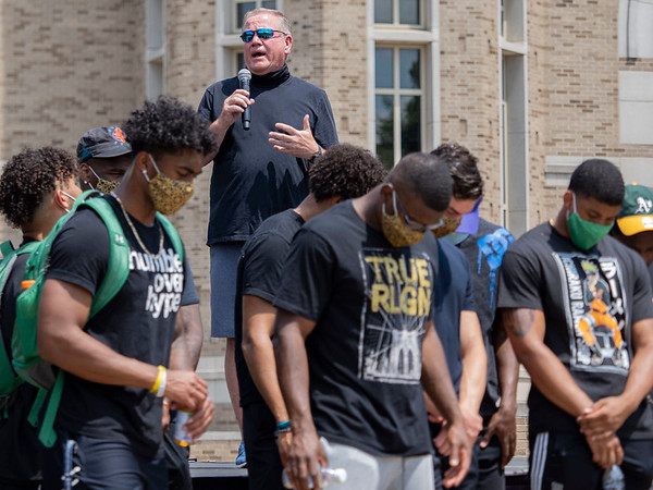 Notre Dame Head Football Coach Brian Kelly speaks to the crowd at the Irish Green on Notre Dame Campus Friday afternoon during Notre Dame's celebration of Juneteenth with peaceful prayer and walk.
