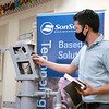 SonSet Solutions Mechanical Engineer David Palmer  speaks about the SonSetLink India Mark II monitor and pump Wednesday afternoon at SonSet Solutions in Elkhart.