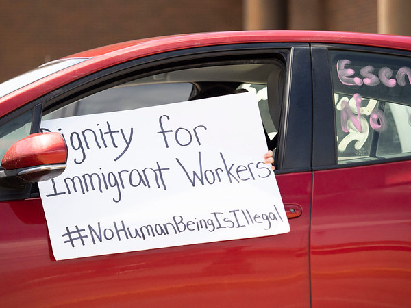 """May Day Rally participant holds a sign out their window supporting the """"Indiana Joins Nationwide Car Caravans Demanding Dignity For Immigrant Workers"""" Friday afternoon in the intersection of Main Street and Franklin Street  in Elkhart."""