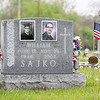 A veteran memorial decorated for Memorial Day Tuesday morning at Oakridge Cemetery.