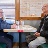 Anne Pierce, left, and her husband Mike Pierce dine in Monday morning at Tony's Famous Grill in Goshen. Monday is the first day that dine in service is permitted at 50% capacity in restaurants in Indiana.