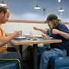 Scott Ratliff and Lawerence Dubby, both of Goshen, dine in Monday morning at Angel's House Of Pancakes in Goshen.
