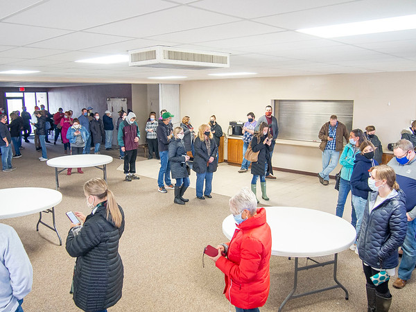 Pictured is a segment of a line with hundreds of people waiting to cast their ballot Monday morning during the final day of early voting at the First Presbyterian Church in Goshen.