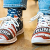 """Elkhart County Republican Party Secretary Debbie Johnson sports her """"Trump"""" shoes Tuesday evening during the Republican Party After Election Party at Antonio's Italian Restaurant in Elkhart. The Democratic Party did not have an election watch party due to the rising numbers of COVID-19 cases in Elkhart County."""