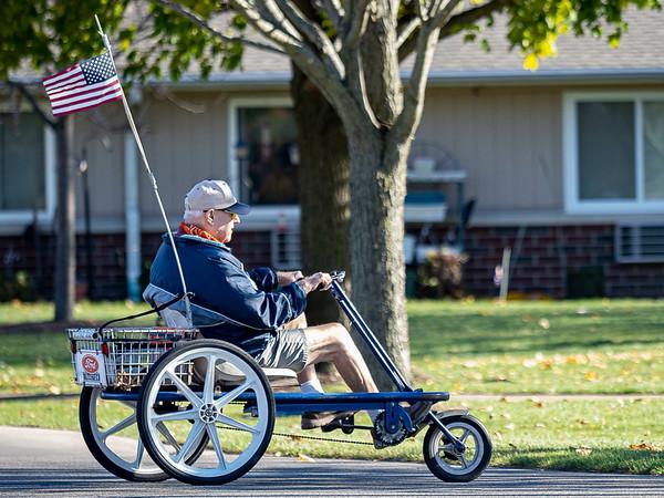 Bill Vander Maas, of Goshen, rides his bike around Tuesday afternoon at Greencroft Community Center in Goshen.