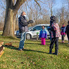Elkhart County Parks Department naturalist Andy Langdon, left, speaks to participants Monday during a Trail Trekkers: River Otters event in the parking lot of the Baintertown Dam in Goshen.