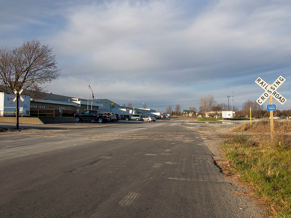 Joseph Weiser | The Goshen News<br /> The railroad crossing dividing Eisenhower Drive North and South near the industrial park on the city's south side will be closed to traffic Thursday in order to allow for the surrounding pavement to be repaired.