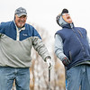 Tom Moon, of Osceola, left, and Tom Heffner, of Elkhart, shoot the breeze after Friday afternoon after teeing off at McCormick Creek Golf Course in Nappanee. Temperatures for this weekend are expected to be in the low 50's, but expected to drop to the low 40's on Tuesday.