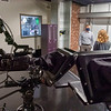 Associate Professor of Communication Kyle Hufford speaks with a Goshen College student in the new t.v. studio Thursday in the Communications Studies Center building on Goshen College Campus in Goshen.