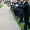 Roger Schneider | The Goshen News<br /> Members of the Goshen Veterans Day honor guard prepare to fire a salute Wednesday  to fallen veterans.