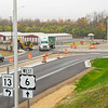 Traffic flows through the newly opened roundabout at U.S. Highway 6 and Indiana State Road 13 in Benton.