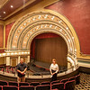Goshen Theater President Everett Thomas and Goshen Theater Managing Director Amber Burguess, right, speak about the renovations to the Goshen Theater Monday, at the Goshen Theater second floor balcony in Goshen. Complete renovation of the theater took 14 months from May 2019 until August 2020.