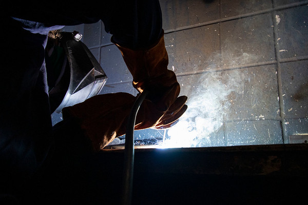 Ben Ratrdon, of Mishawaka, works on a welding project during a welding class Monday at Ivy Tech Community College in South Bend. The class is one of several being offered for free by Ivy Tech through the state's Next Level Jobs initiative, which has seen a surge in interest in the months following COVID-19's arrival in the state.