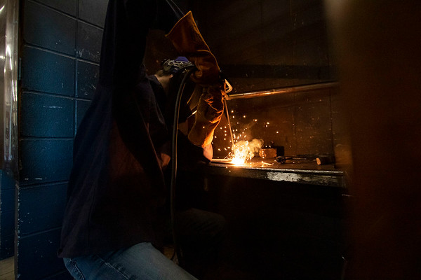 Zachary Williams, of Goshen, performs a weld during an Ivy Tech Community College Shielded Metal Arc One class Monday morning at Ivy Tech Community College in South Bend. The class is one of several being offered for free by Ivy Tech through the state's Next Level Jobs initiative, which has seen a surge in interest in the months following COVID-19's arrival in the state.