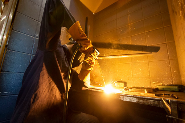 Zachary Williams, of Goshen, creates a weld during a welding class Monday morning at Ivy Tech Community College in South Bend. The class is one of several being offered for free by Ivy Tech through the state's Next Level Jobs initiative, which has seen a surge in interest in the months following COVID-19's arrival in the state.