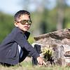 Mateo Horta, 4, of Goshen, points at the ground Friday at Fidler Pond in Goshen.