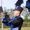 Fairfield band member Abigail Mast plays the trumpet Friday before the game between the Fairfield Falcons and Fremont Eagles at Fairfield Jr.-Sr. High School in New Paris.