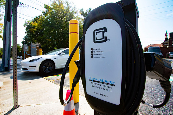 Joseph Weiser<br /> A new electric vehicle charging station similar to the one pictured here at Goshen City Hall will soon be installed in the old NIPSCO parking lot near Interra Credit Union and Goshen Brewing Company following action by the Goshen Redevelopment Commission Tuesday.