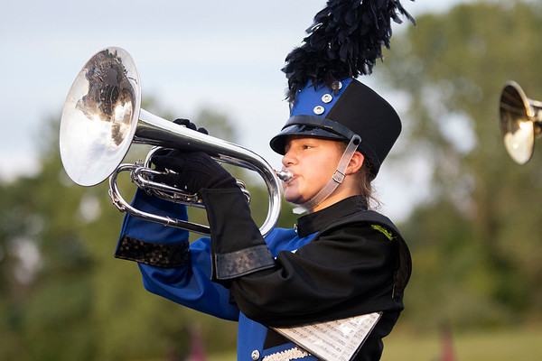 Fairfield band member Olivia Hilty plays the mellophone Friday before the game between the Fairfield Falcons and Fremont Eagles at Fairfield Jr.-Sr. High School in New Paris.