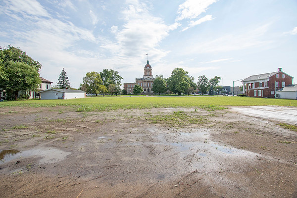 Joseph Weiser<br /> This vacant lot, formerly the site of the old Elkhart County Jail, is included in a new Downtown River District Revitalization Plan for the city. Goshen Redevelopment Commission members Tuesday hired Elkhart-based consulting firm JPR to craft the plan at a cost of $75,000.