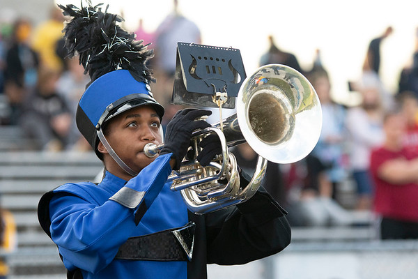 Fairfield band member Zackery Musselman plays the baritone Friday before the game between the Fairfield Falcons and Fremont Eagles at Fairfield Jr.-Sr. High School in New Paris.