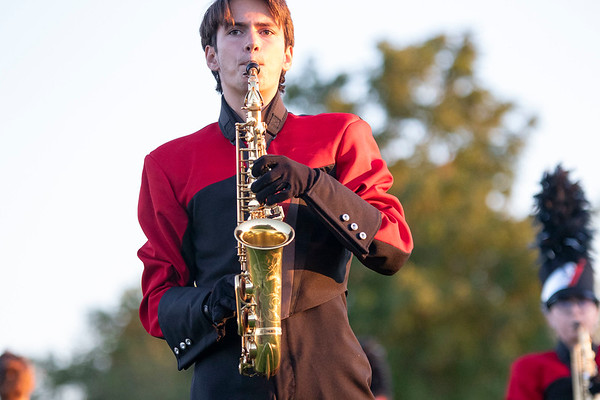 NorthWood band member Samuel Schlatter plays the saxophone Friday, Sep. 4 during halftime of the game between the Concord Minutemen and NorthWood Panthers  at NorthWood High School in Nappanee.