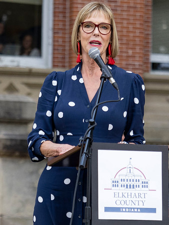 Indiana Lieutenant Governor Suzanne Crouch speaks to the crowd during Wednesday's flag pole dedication ceremony at the Elkhart County Courthouse lawn in Goshen.