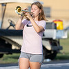 Karli Moore plays a trumpet during a Wawasee High School band practice Sept. 2.