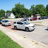 Patients wait in their vehicles for COVID-19 testing Tuesday at the Center for Healing and Hope in Goshen.