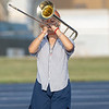 Wawasee High School band member Penellope Jones plays a trombone during practice Sept. 2.