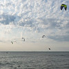 Several kite surfers take to the waters of Lake Michigan and sky along the shore of Tiscornia Park Wednesday, Aug. 11 in St. Joseph, Michigan.