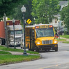 A Goshen Community Schools bus driver stops near the intersection of North Main Street and East Oakridge Avenue Monday morning. Today is the first day of school for the 2021-2022 school year.