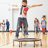 Bret Duckworth jumps off a trampoline Friday morning during a jump rope party at Lakeland Primary Elementary in LaGrange.