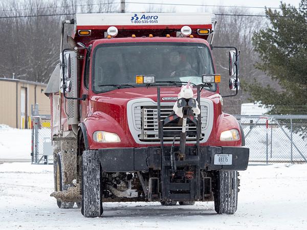 A Goshen Street Department salt truck pulls into the Goshen Street Department garage to be reloaded Monday morning located at 475 Steury Avenue in Goshen.