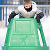 Nicah Harrison, 6, of Goshen, uses a Skate Helper while skating Saturday at NIBCO Water and Ice Park in Elkhart.