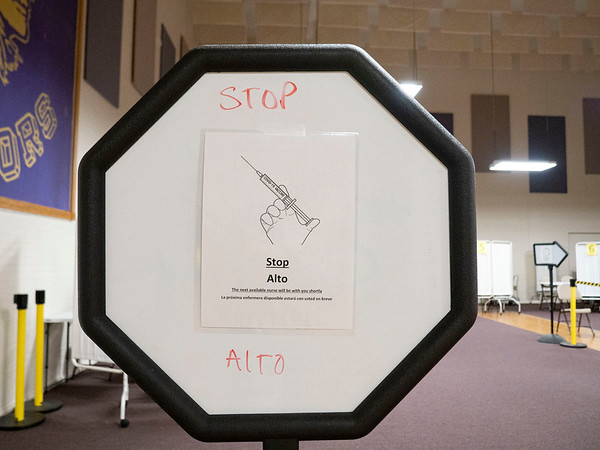 """A """"Stop"""" sign to control the flow of personal in the Lincoln Center Monday which is located at 608 Oakland Avenue in Elkhart. The center will be a site for COVID-19 vaccination by appointment."""