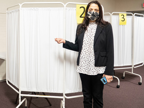 Elkhart County Health Officer Dr. Bethany Wait showcases where COVID-19 vaccinations will be administered in the Lincoln Center Monday which is located at 608 Oakland Avenue in Elkhart.