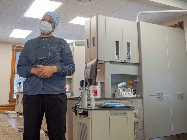 Maple City Health Care Center Dentist Dr. Kamani Meriwether speaks during an interview Tuesday morning during the opening morning of the new dental program at Maple City Health Care Center in Goshen.