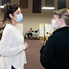 Elkhart County Health Officer Dr. Bethany Wait, left, speaks with health department worker Tia Tweed Monday morning at the Lincoln Center, located at 608 Oakland Ave. in Elkhart.