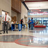 Weigand Construction Senior Project Manager Steve Bush, left, and Goshen Intermediate School Principal Moises Trejo, right, speak with each other Monday during the Goshen Intermediate School open house located at 925 S. Greene Rd.