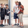 Goshen Intermediate School Student Leadership  Noah Subera, 11, left, and Carson Yoder, 11, direct Charlie Steiner, middle, and Cheryl Steiner, right, around the school  Monday during the Goshen Intermediate School open house located at 925 S. Greene Rd.