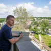 Elkhart County Building and Grounds Don Tubicsak overlooks Main Street from the balcony Thursday of the Elkhart County Courthouse in Goshen.