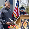 Indiana State Police Chaplain Darren Washington delivers the closing prayer during the memorial service Wednesday at Indiana State Police Toll Road District Post 21 located at 52422 County Road 17 in Bristol.