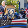 Indiana State Police Chaplain Harold Gingerich delivers the opening prayer during the memorial service Wednesday at Indiana State Police Toll Road District Post 21 located at 52422 County Road 17 in Bristol.