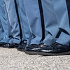 Indiana State Police officers stand in ranks during the memorial service Wednesday at Indiana State Police Toll Road District Post 21 located at 52422 County Road 17 in Bristol.