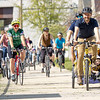 Goshen City Clerk-Treasure Adam Scharf, right, and his children leads the public on a bike ride around the city Friday afternoon to kick off National Bike to Work Week along the 9th Street bike path in Goshen. Bike to work week starts on Monday, May 17th through Sunday, May 23rd.