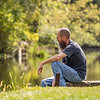 Mike Mikel, of Millersburg, enjoys a beautiful fall day while he sits on the embankment of the Baintertown Dam Thursday at Baintertown Dam ‒ River Preserve County Park in Goshen. Mikel said he often fishes at the location but was just enjoying the great weather Thursday.
