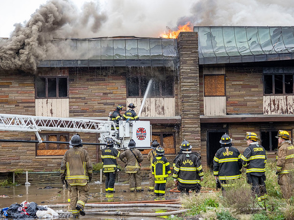 As many as 14 area fire departments responded to a fire Tuesday at a vacant building in the 28000 block of La Rue Street in Elkhart. The call for the fire came in shortly before 2:30 p.m., according to an Elkhart County dispatcher. No injuries were reported, and the extent of the damage to the building had not been determined as of press time.