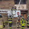 Firefighters from numbers departments battle a fire at an abandoned industrial building Tuesday at 28807 La Rue Street in Elkhart.