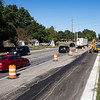 Traffic flows through a work site along College Avenue Thursday morning near the intersection of College Avenue and U.S. 33 in Goshen.